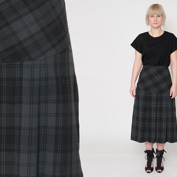 1980's Grey Checkered Skirt – Vintage 80s Black Plaid A Lined Pleated Preppy Novelty High Waist Wool Blend Secretary Midi Skirt Size L XL