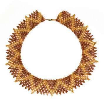 Geometric, Handwoven, Bead-woven, Beaded, Ethnic, Folk necklace, Gold, Bronze, Glass Jewelry, Seed bead jewelry