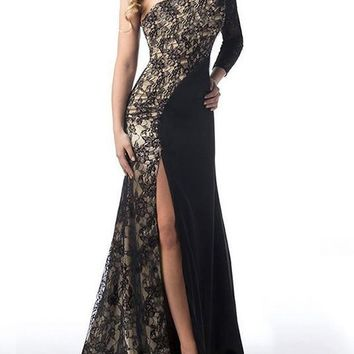 Lace Split Joint One-Shoulder Backless Split-side Floor Maxi Dress