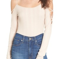 Lace Sleeve Cold Shoulder Bodysuit | Nordstrom