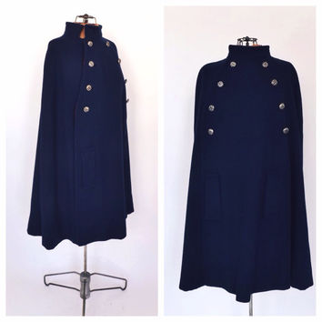 Vintage 1960s 70s Navy Blue Wool Cape Coat Cloak Winter Overcoat Mad Men Preppy London Couture Mod Fall Coat 60s Cape Nautical Military