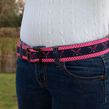 Girls Reversible Navy and Pink Lacrosse Ribbon Belt