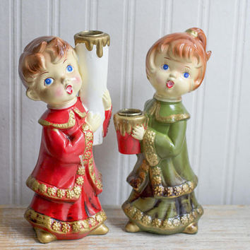 Vintage Christmas Candleholders, Boy Girl Carolers Candlestick Pair, Green White Mid Century Xmas Decor