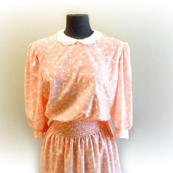 Peach Pink Dress Empire Waist Peter Pan Collar 3/4 Sleeve Dress Polyester Large