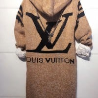 DCCKN6V LV Hooded Sweater Knit Cardigan Jacket Coat