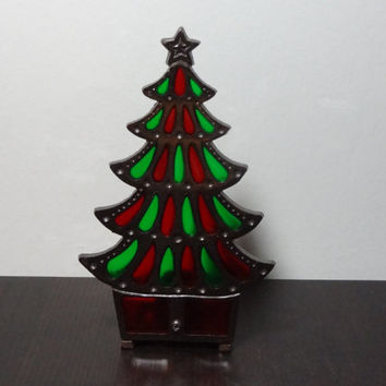 Vintage Cast Iron Chritmas Tree Candle Holder with Red and Green Colored Glass - Old Fashioned Christmas