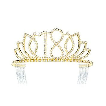 DcZeRong Princess Sweet Girls 18 Birthday Tiara Crown Gold Rhinestone Crystal Diamond Crown Tiara