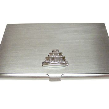Silver Toned Cake Business Card Holder