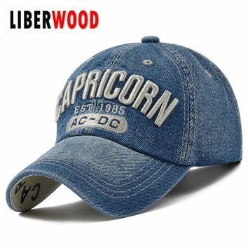 Denim Solid Blue Jeans Capricorn Zodiac Baseball Hat Cap Cowboy Dad Hat Curved Ball Cap USA Distressed Vintage
