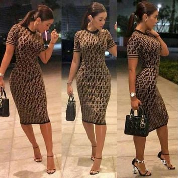 Fendi Sexy Popular Women F Letter Print Short Sleeve Round Collar High Waist Knee-Length Dress Coffee