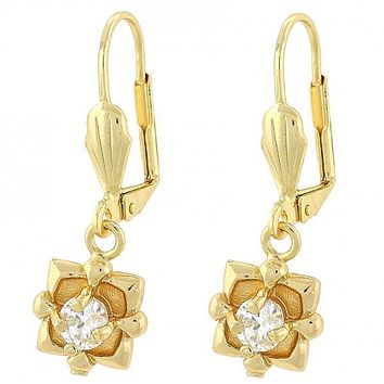 Gold Layered Dangle Earring, Flower Design, with Cubic Zirconia, Golden Tone