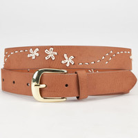 Flower Stitch Belt Cognac  In Sizes