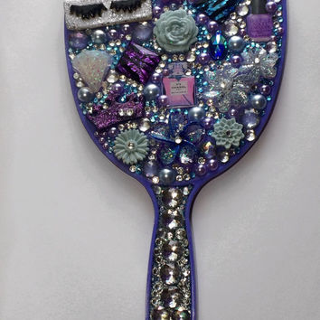 Custom Bling Hand Mirror, Rhinestone Mirror, Personalized Hand Mirror
