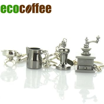Diy Free Shipping Stocked Espresso Accessories Keychain Coffee Tamper Keyring Profilter/pitcher/kettle/moka Pot Promotion