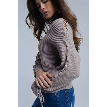 Beige crop sweater with tie ribbons
