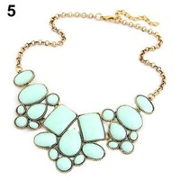 [flash Sweet Nice Women's Resin Bubble Pendant Collar Chain Statement Necklace Multicolor = 5988046209