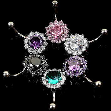New Charming Dangle Crystal Navel Belly Ring Bling Barbell Button Ring Piercing Body Jewelry = 5987757121