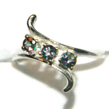 Three Stone Topaz Ring, Rainbow Stone, Bypass Ring, Middle Finger Ring