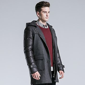 Thick Long Down Parkas Men Clothing Casual Wool Spliced Hooded Down Jackets Man Winter Coat