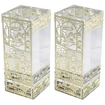 CRYSTAL CANDLESTICKS 12*5 CM WITH LASER CUT METAL PLAQUE
