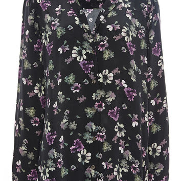 Black Silk Adalyn Floral Blouse