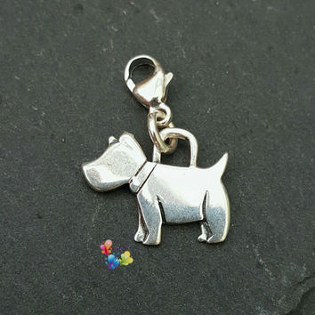 Clip on Charm, Dog Charm, Sterling Silver, gift for her, holiday gift, Christmas gift