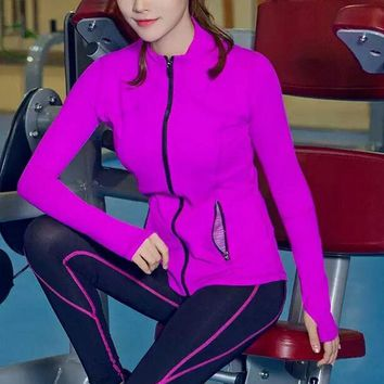 Zipper long sleeve Moisture absorption perspiration quick-drying sport coats PURPLE