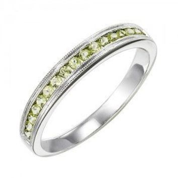 10k white gold peridot channel set birthstone ring