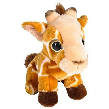 7 Inch Big Eyed Stuffed Giraffe Plush Posed Animal Kingdom Collection