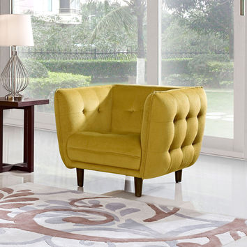 Venice Button Tuft Fabric Chair by Diamond Sofa - YELLOW/GOLD