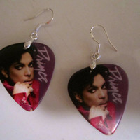 Handmade PIRNCE PURPLE RAIN Double Sided Guitar Pick Earrings with Sterling Silver Wires
