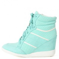 Bamboo Bethany-07 Lace Up Wedge Sneakers | MakeMeChic.com