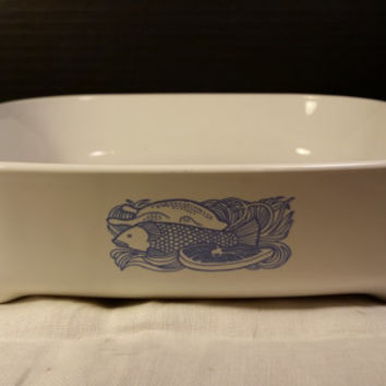 Corning Ware Norelco Microwave Browning Dish with Fish Design Vintage Corning Norelco Dish with Feet and Handles