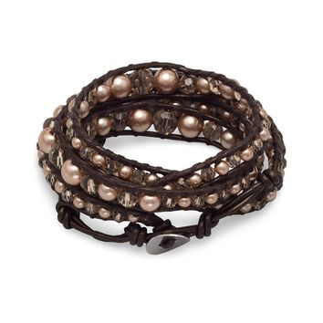 Leather Fashion Wrap Bracelet with Brown Crystal and Glass Pearls