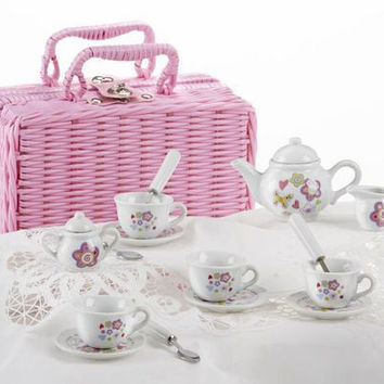 Childrens Porcelain Tea Set in Square Wicker Style Basket - Flowers