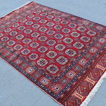 "Vintage Area Rug Carpet, Handwoven Area Rug, Turkish Decorative Rug Carpet, Wool Floor Rug, Anatolian Rug Carpet - 220x145 cm, 88""x58"""