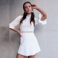 White Loudspeaker Summer Korean Hollow Out Slim Skirt One Piece Dress [11791021583]