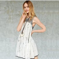 """Free People"" Fashion Retro Embroidery Geometric Pattern Sleeveless Mini Dress"