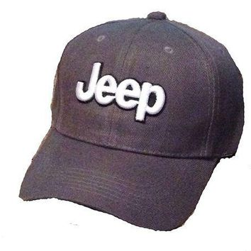 ESBON3F Jeep Baseball Cap Hat. Medium Gray. 3D Emblem. Adjustable. New!