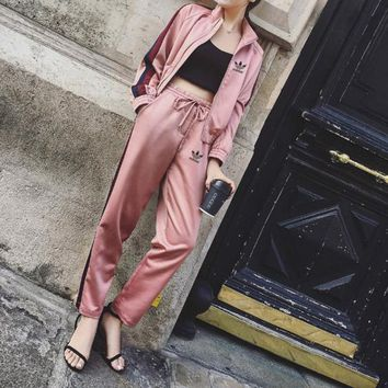 Tagre™ Adidas Women Casual Multicolor Stripe Zip Cardigan Baseball Clothes Long Sleeve Trousers Set Two-Piece Sportswear