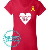Wearing Red for My Hero Red Friday TShirt, Army, Air Force, Marines, Navy, Military Wife, Fiance, Girlfriend, Workout