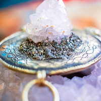Wearable Altar - Spirit Quartz and Pyrite  | Boho Gypsy Tribal Belly Dance Festival Burning Man