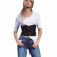Women's Elasticity Faux Suede Lace Up Corset Belt New Fashion Black Corset Waist Belt Shape-Making