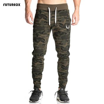 High Quality Fitness Men cotton pants workout Gyms bodybuilding clothing camouflage sweatpants joggers pants skinny trousers