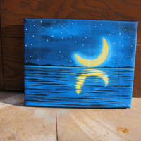 MOON PAINTING, oil painting 8X10i , sea, illustration, sky, Wall decor, stretched canvas, gift idea, Free Shipping, art, moon painting