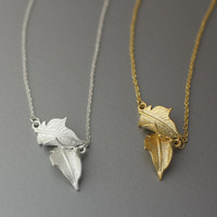 Double Leafs  Necklace -  Available color as listed ( Gold, Silver )