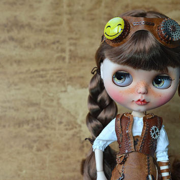 "Custom Blythe doll ""Steampunk girl"". OOAK doll."