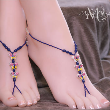 Porcelain Butterfly Barefoot Sandals