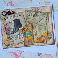 Just Because Thinking of You Any Occasion Vintage Inspired Handmade Greeting Card, Blank Note Card, Victorian Fashion Paper Craft, Ephemera