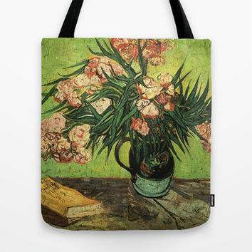 Vincent van Gogh, Vase with Oleanders and Books Tote Bag by ArtsCollection